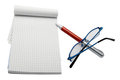 Pen pad and glasses Royalty Free Stock Photography