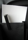 Pen and paper black white in briefcase pocket with papers Stock Images