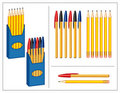 Pen and Pencils Set Stock Photos