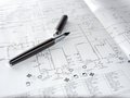 Pen and a process diagram from chemical industry Stock Images
