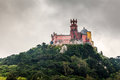 Pena palace in sintra near lisbon in rainy weather portugal Stock Photography