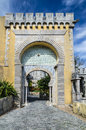 Pena palace sintra portugal arabic architecture style arch on palacio de pina entrance Stock Image