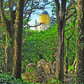 Pena palace in sintra stunning view to one of the seven wonders portugal Royalty Free Stock Images