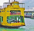 Penang yellow ferry in the current fleet is named after island pulau rimau in malaysia it is mixed passenger upper deck and Stock Image