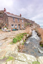 Penberth cove near logans rock cornwall uk porthcurno and treen small fishing village and cottage Stock Images