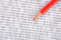 Pencil and binary code Stock Photography