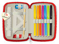 Pencil box set of school accessories in Stock Images