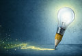Pencil-Bulb Drawing Light Royalty Free Stock Photo