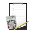 Pencil, calculator and notepad Stock Photography