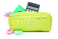 Pencil case full of school supplies isolated on white. Royalty Free Stock Photo