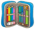 Pencil case theme image 1 Royalty Free Stock Photo