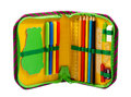 Pencil case with various stationery isolated Royalty Free Stock Photography