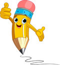Pencil Character  giving thumbs up Stock Photo