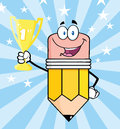 Pencil Character Holding Golden Trophy Cup Royalty Free Stock Photo