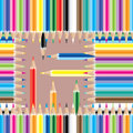 Pencil Colorful Square Seamless Pattern Royalty Free Stock Photo