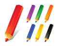 Pencil colors vector illustration of color Stock Photos
