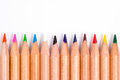 Pencil colors on a white background Stock Photos