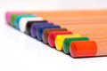 Pencil colors on a white background Royalty Free Stock Photography