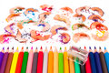 Pencil colors on a white background Stock Image
