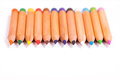 Pencil colors on a white background Stock Photo