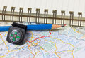 Pencil compass and map conceptual image of adventure Stock Images