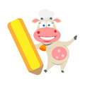 Pencil cow illustration of chef on white background Stock Photos