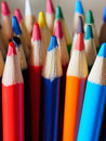 Pencil crayons with many colors Stock Photo