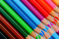 Pencil crayons a wide range of colored neatly aligned Royalty Free Stock Photography