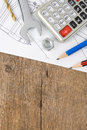 Pencil and drafting on wood Royalty Free Stock Photo