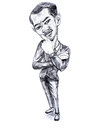 Pencil drawing caricature of businessman in ponder pose on whit