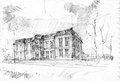 Pencil drawing of chateau de champs sur marne ile de france europe Stock Images