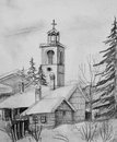 Pencil drawing of old church in bansko black and white an ski resort bulgaria Stock Image