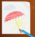 Pencil drawing on paper in the rain Royalty Free Stock Photos