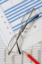 Pencil and glasses with Spreadsheet Stock Photos