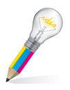 Pencil for graphic design ideas colorful with light bulb symbolizing creativity vector illustration Stock Images