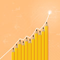 Pencil graphic vector illustration of increasing of pencils and an arrow Stock Image