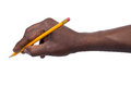 Pencil in hand isolated on white background Royalty Free Stock Photos