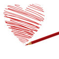 Pencil and heart Royalty Free Stock Photos