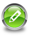 Pencil icon glossy green round button Royalty Free Stock Photo