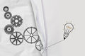 Pencil lightbulb draw rope open wrinkled paper gear of success as concept Stock Images