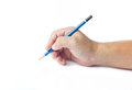 Pencil in man hand isolated on white background Stock Photos