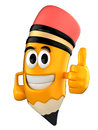 Pencil mascot d render of giving thumbs up Stock Images