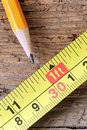 Pencil and measure Royalty Free Stock Photo