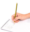 Pencil and notepad iv concept image of home budget list on a with Royalty Free Stock Photos