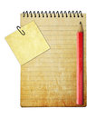Pencil on old paper book Royalty Free Stock Photo