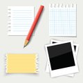 Pencil and paper colorful illustration with note for your design Stock Image