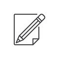 Pencil and paper line icon Royalty Free Stock Photo
