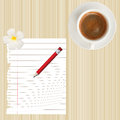 Pencil,paperand coffee cup on wood Royalty Free Stock Photography