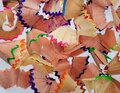Pencil peels from sharpening colored pencils close up Royalty Free Stock Photo