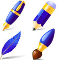 Pencil, pen, brush, feather. Royalty Free Stock Photography